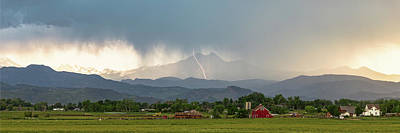 Poster featuring the photograph Colorado Front Range Lightning And Rain Panorama View by James BO Insogna
