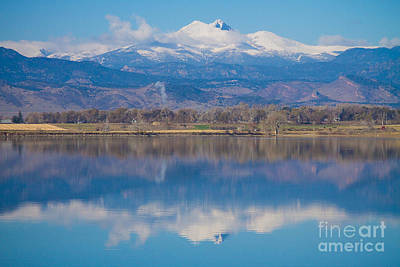 Colorado Longs Peak Circling Clouds Reflection Poster