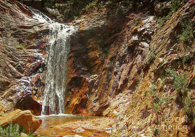 Poster featuring the photograph Colorado Red Rock Waterfall by Andrea Hazel Ihlefeld