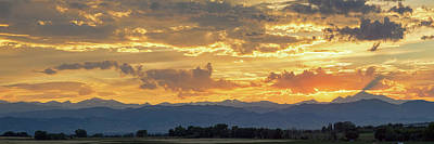 Colorado Rocky Mountain Front Range Panorama Sunset Poster