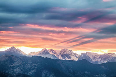 Colorado Rocky Mountain Sunset Waves Of Light Part 2 Poster