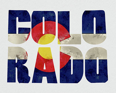 Colorado Typography Map Flag Poster