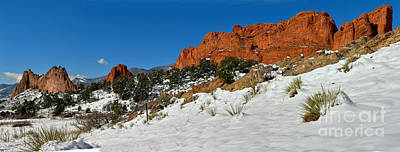 Poster featuring the photograph Colorado Winter Red Rock Garden by Adam Jewell