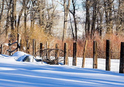 Poster featuring the photograph Colorado Winter Snow Scene With Old Farming Rake And Rustic Fence by Nadja Rider