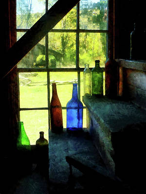 Poster featuring the photograph Colored Bottles On Steps by Susan Savad