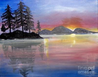 Poster featuring the painting Colored Lake by Saundra Johnson