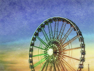 Colored Pencil Drawing Detail And Silhouette Of Ferris Wheel Wi Poster