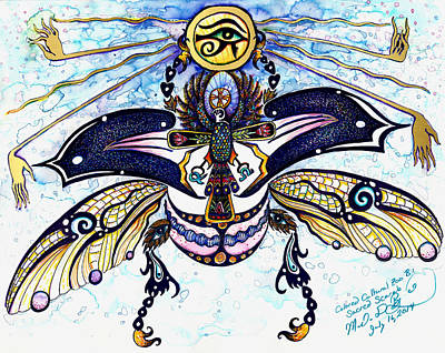 Colored Sacred Scarab In Digital Gold Poster by Melinda Dare Benfield