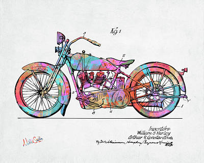 Colorful 1928 Harley Motorcycle Patent Artwork Poster