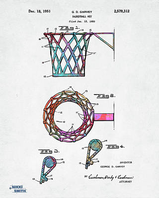 Colorful 1951 Basketball Net Patent Artwork Poster