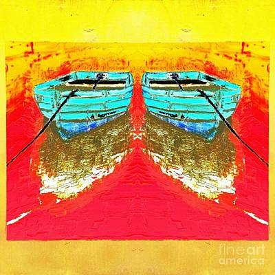 Colorful Abstract Row Boats Poster