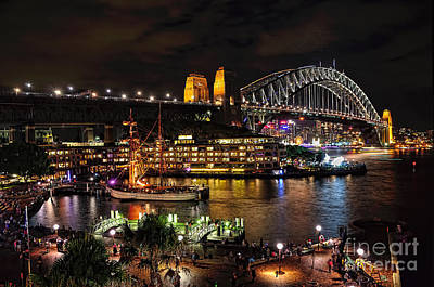 Colorful Activity Sydney Harbour By Kaye Menner Poster by Kaye Menner