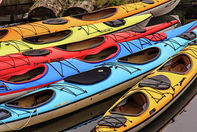 Colorful Alaska Kayaks Poster