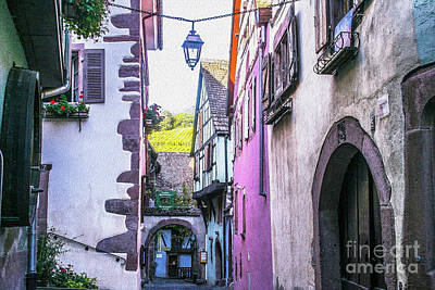 Colorful Alley Of  Riquewihr France Poster