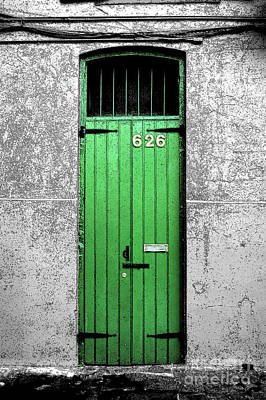 Colorful Arched Doorway French Quarter New Orleans Color Splash Black And White With Ink Outlines Poster