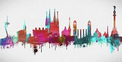 Colorful Barcelona Skyline Silhouette Poster
