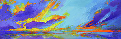 Colorful Beach Sunset Oil Painting  Poster by Patricia Awapara
