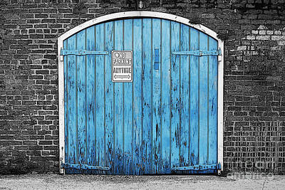 Colorful Blue Garage Door French Quarter New Orleans Color Splash Black And White And Poster Edges Poster by Shawn O'Brien
