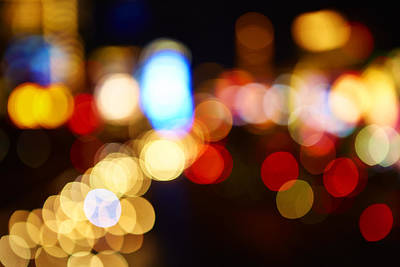Colorful Bokeh Lights In The City - F Poster by Gillham Studios