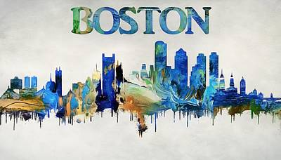 Colorful Boston Skyline Poster by Dan Sproul