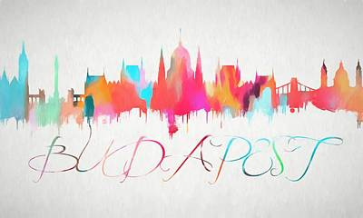 Colorful Budapest Skyline Poster by Dan Sproul