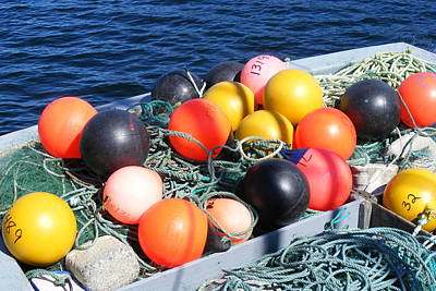 Poster featuring the photograph Colorful Buoys by Barbara Griffin