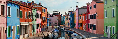 Poster featuring the photograph Colorful Burano Canal Panorama View by Songquan Deng