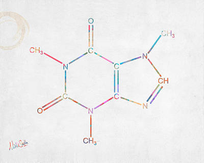 Colorful Caffeine Molecular Structure Poster