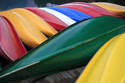 Colorful Canoes Poster by Catherine Alfidi