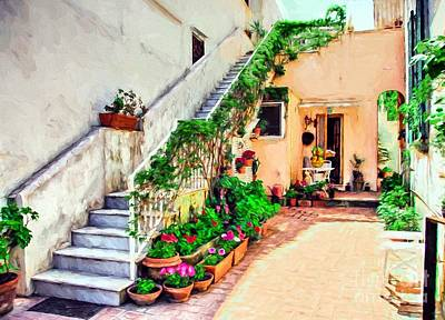 Colorful Capri Courtyard Poster by Mel Steinhauer
