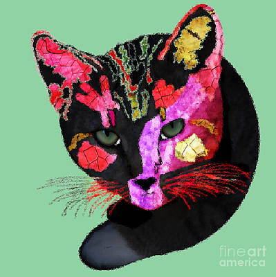 Colorful Cat Abstract Artwork By Claudia Ellis Poster