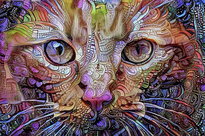 Colorful Cat Art Poster by Peggy Collins