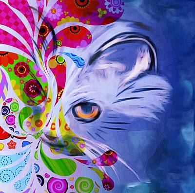 Poster featuring the mixed media Colorful Cat World by Gabriella Weninger - David