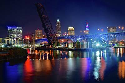 Poster featuring the photograph Colorful Cleveland Lights Shimmer Bright by Frozen in Time Fine Art Photography