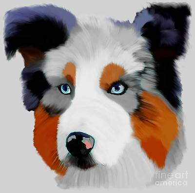 Colorful Collie Art  Poster by Karen Harding