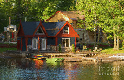 Colorful Cottage - Painterly Poster by Les Palenik