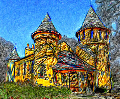 Colorful Curwood Castle Poster by Bruce Nutting