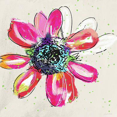 Poster featuring the mixed media Colorful Daisy- Art By Linda Woods by Linda Woods