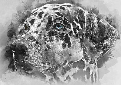 Colorful Dog Portrait 1 - By Diana Van Poster by Diana Van