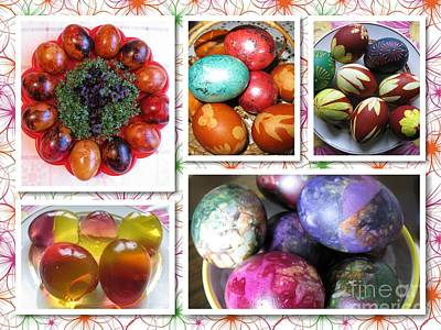 Poster featuring the photograph Colorful Easter Eggs Collage 07 by Ausra Huntington nee Paulauskaite
