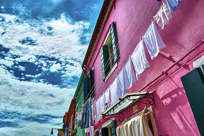 Colorful Facade With Laundry In Burano Poster