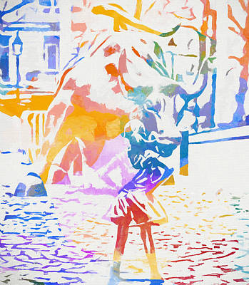 Poster featuring the painting Colorful Fearless Girl by Dan Sproul