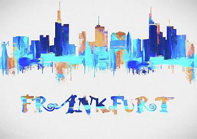 Colorful Frankfurt Skyline Silhouette Poster by Dan Sproul