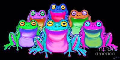 Poster featuring the painting Colorful Froggies by Nick Gustafson
