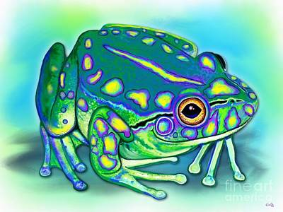 Poster featuring the painting Colorful Froggy by Nick Gustafson