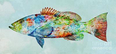 Colorful Gag Grouper Art Poster