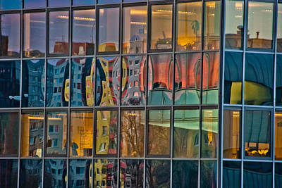 Colorful Abstract Glass Office Window Building Reflections Poster by Aaron Sheinbein