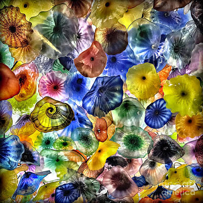 Colorful Glass Ceiling In Bellagio Lobby Poster by Walt Foegelle