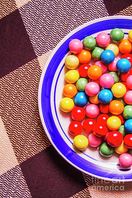 Colorful Gumballs On Plate Poster