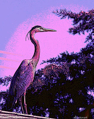 Colorful Heron Poster